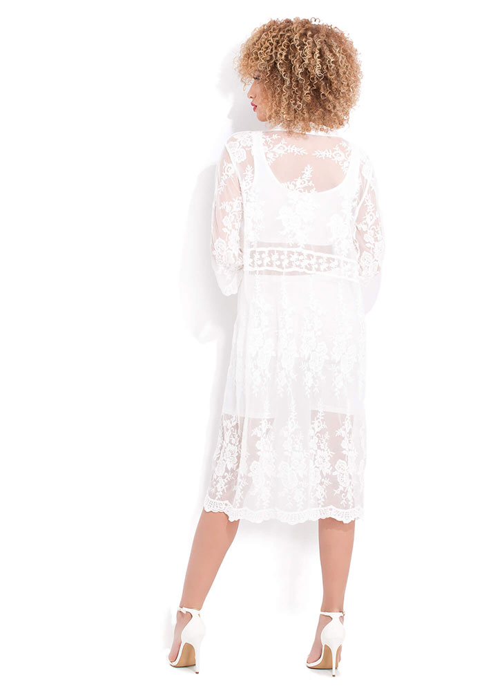 Delicate Sheer Floral Lace Duster WHITE