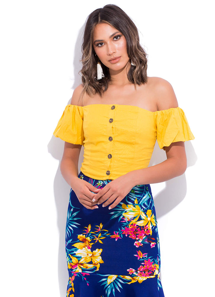 Cabo Cutie Buttoned Off-Shoulder Top MUSTARD (You Saved $12)