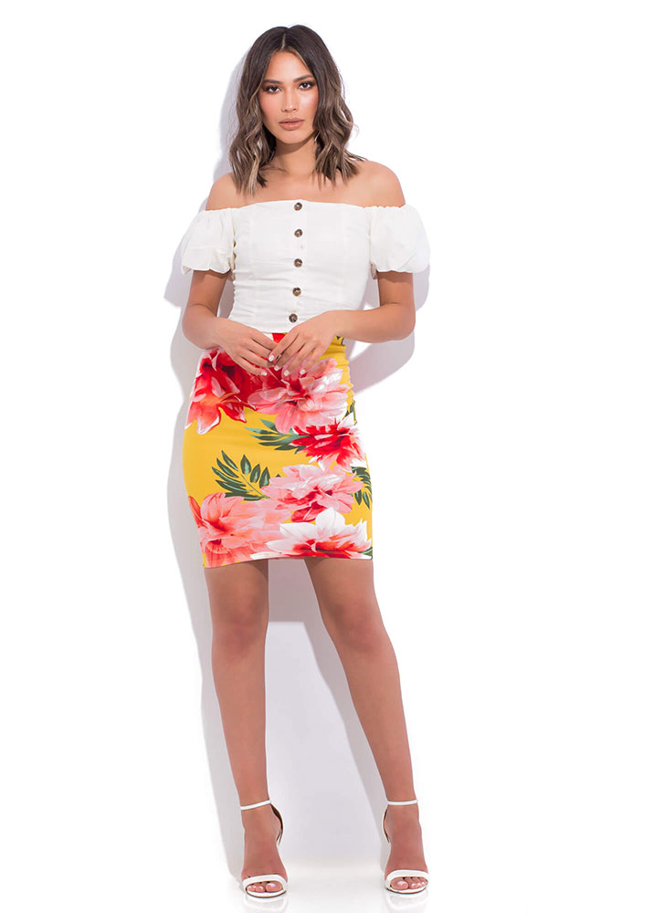 Cabo Cutie Buttoned Off-Shoulder Top OFFWHITE (You Saved $12)