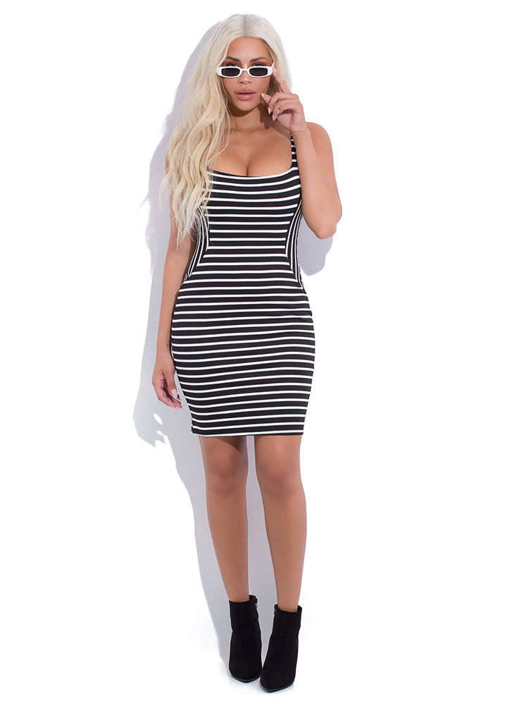 Not An Illusion Striped Bodycon Dress BLACK