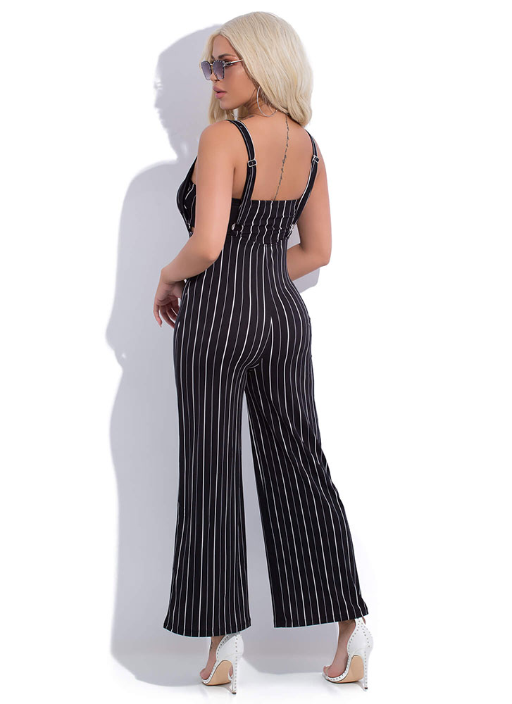 Pinstriped Perfection 2-Piece Jumpsuit BLACKWHITE (You Saved $12)