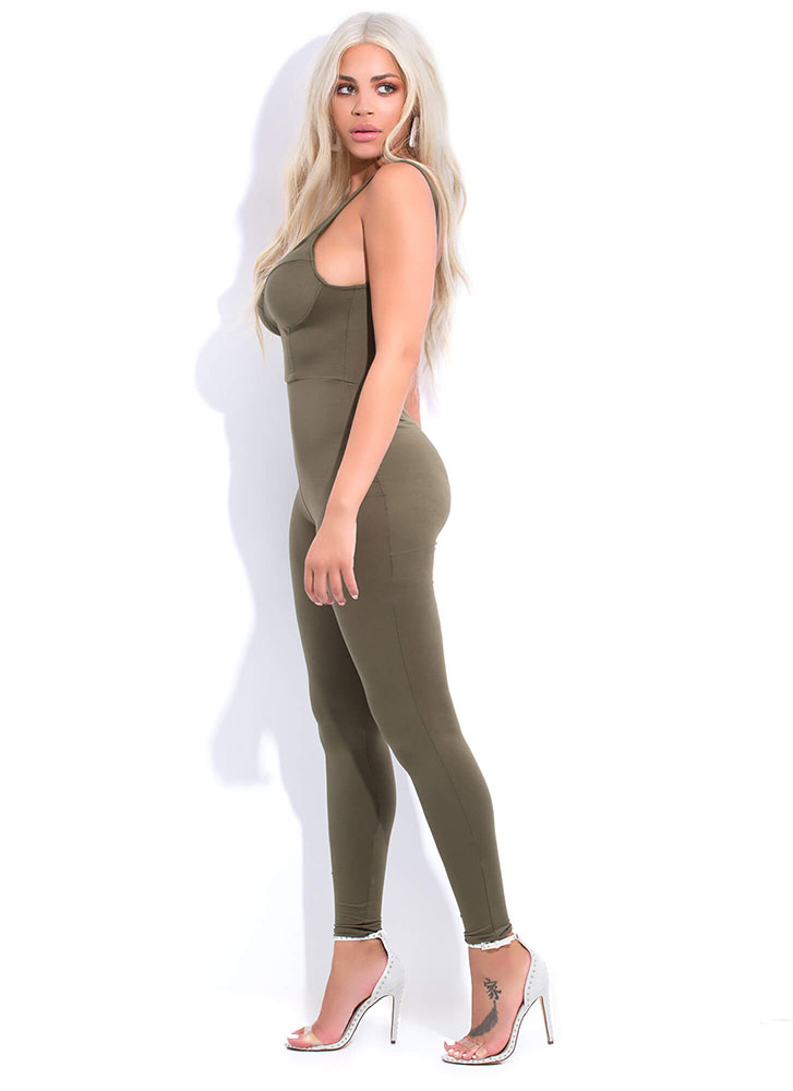 Call It A Catsuit Bustier Jumpsuit OLIVE (You Saved $13)