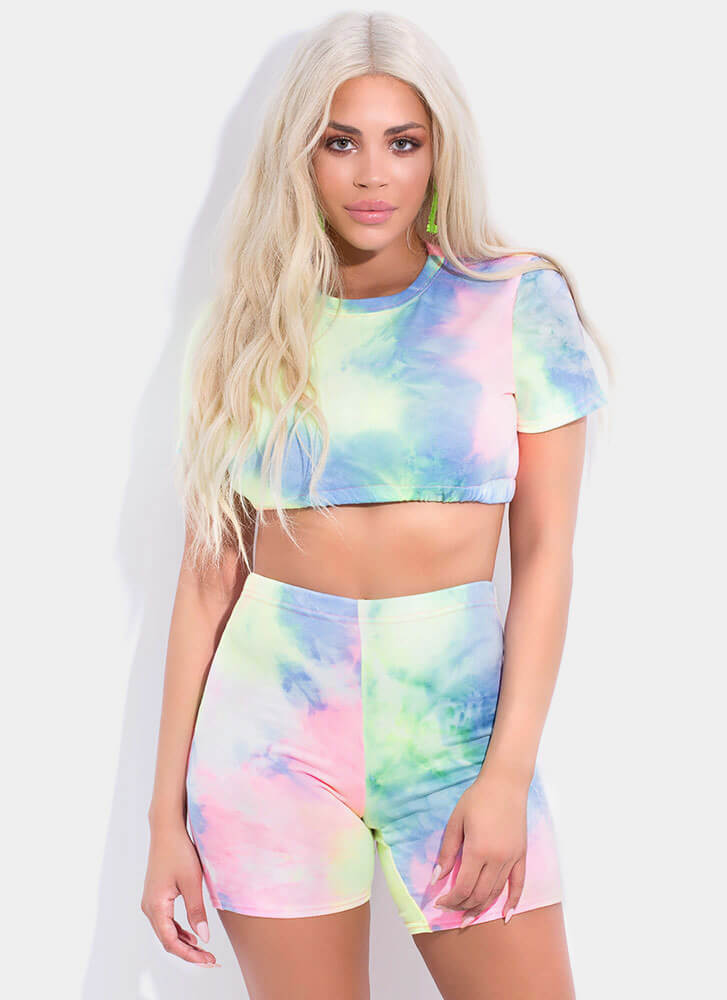Cotton Candy Tie-Dyed Crop Top MULTI