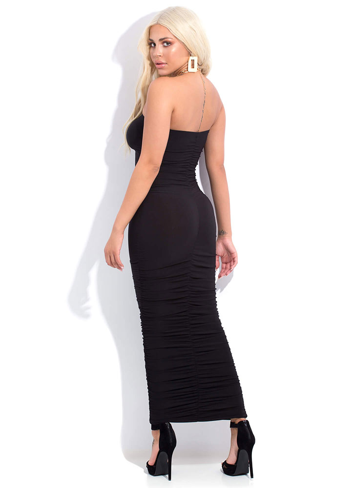 Ruche Hour Strapless Shirred Maxi Dress BLACK