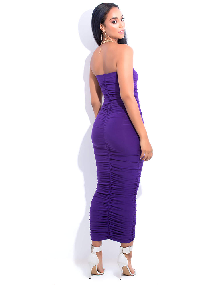 Ruche Hour Strapless Shirred Maxi Dress PURPLE