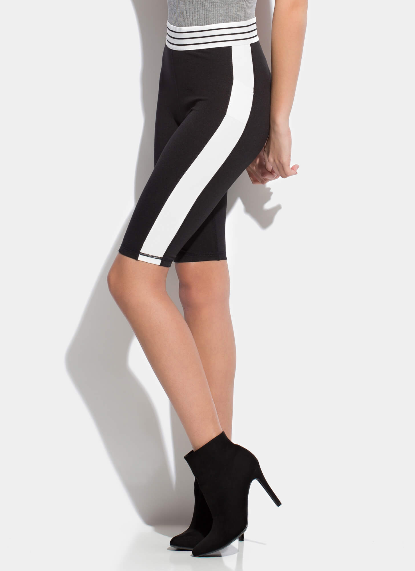 Work It Sporty Striped Biker Shorts BLACK (You Saved $15)