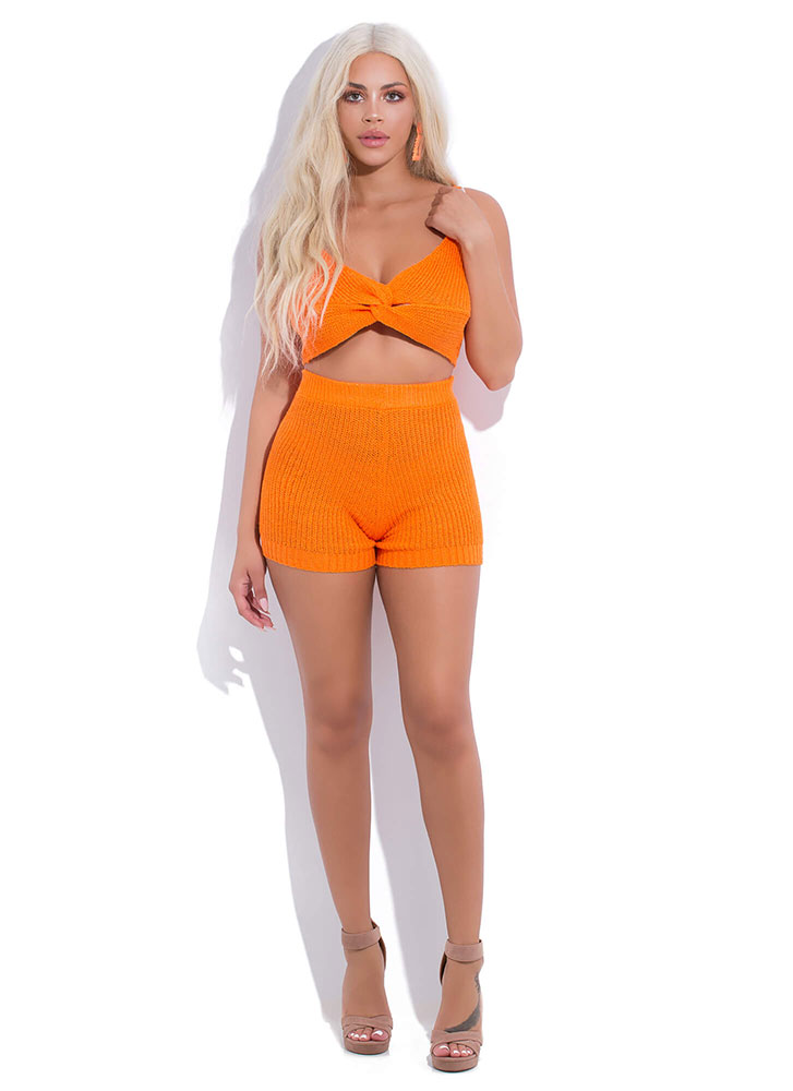Get Knotty Knit Top And Shorts Set ORANGE (You Saved $27)