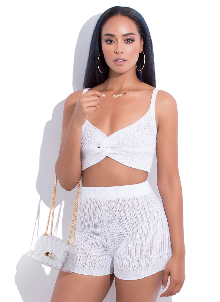 Get Knotty Knit Top And Shorts Set WHITE (You Saved $27)