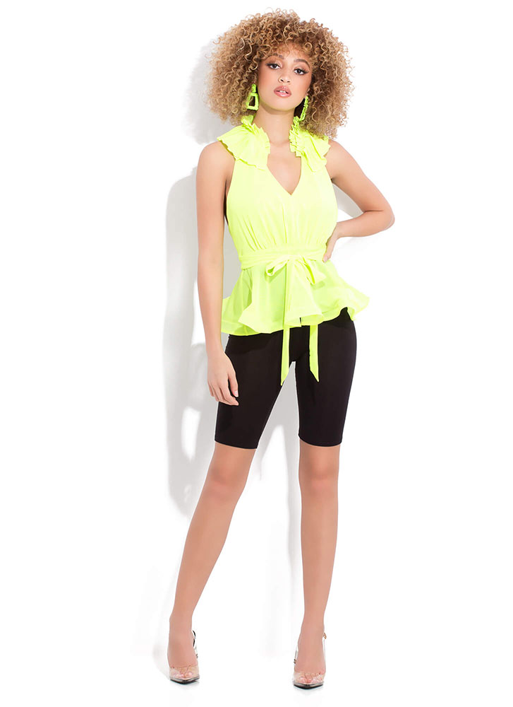 Pretty Pleats Open-Back Peplum Top LIMEGREEN
