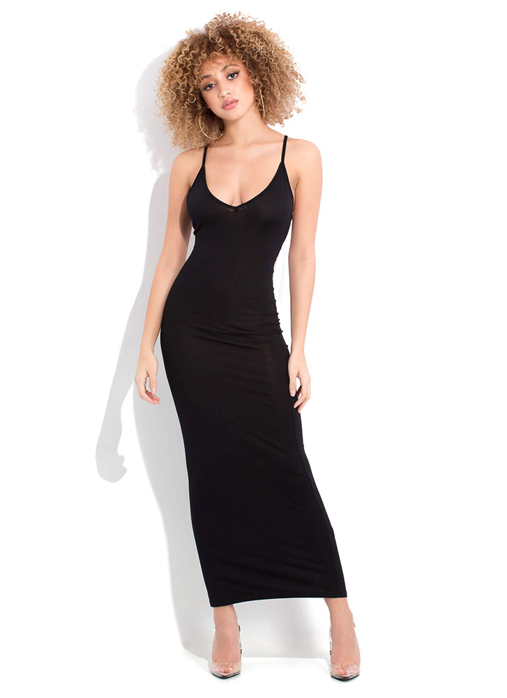 Bringing Strappy Back Cut-Out Maxi Dress BLACK