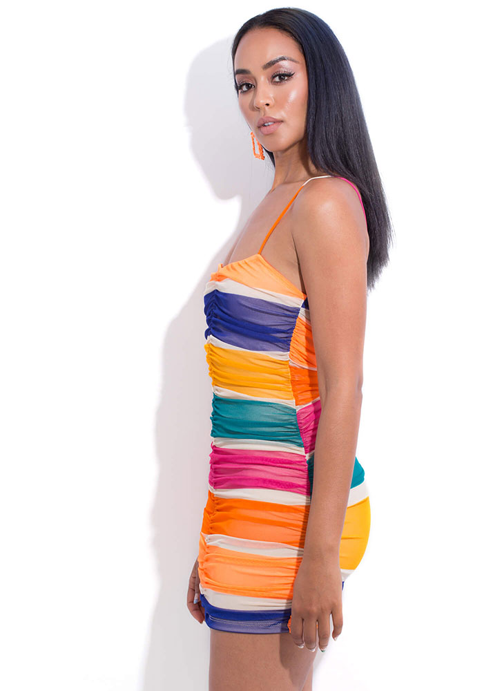 Candy Coated Ruched Mesh Minidress MULTI