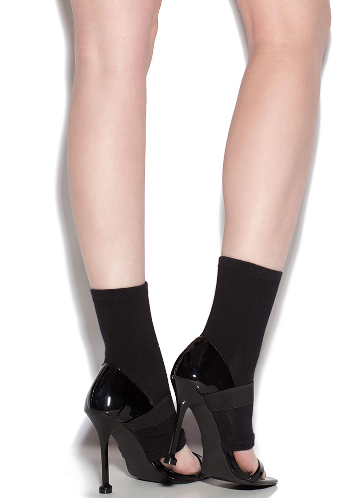 Socks Appeal Colorblock Bootie Heels BLACK (You Saved $23)