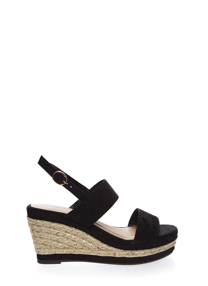Make It Shine Braided Platform Wedges BLACK