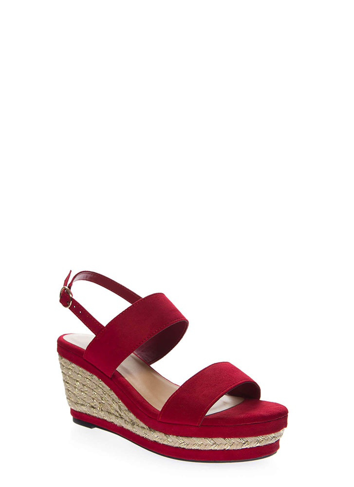 Make It Shine Braided Platform Wedges RED