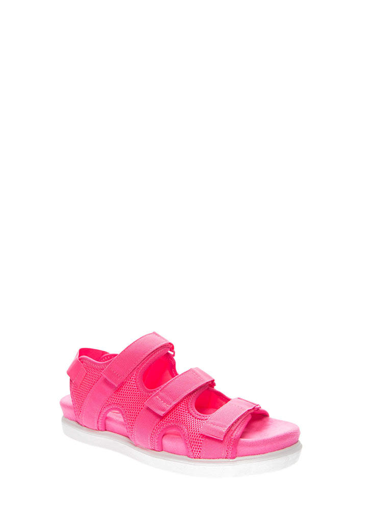 Net Gains Sports Mesh Platform Sandals NEONPINK