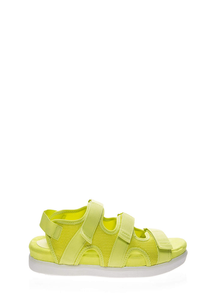 Net Gains Sports Mesh Platform Sandals NEONYELLOW
