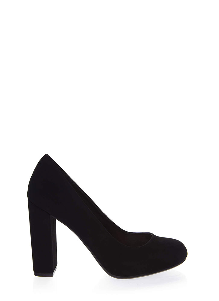 My Chunky Heels Faux Nubuck Pumps BLACK