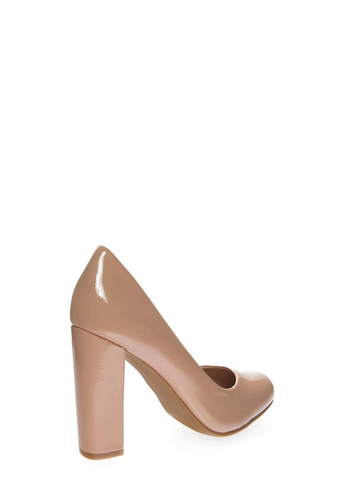My Chunky Heels Faux Patent Pumps NUDE