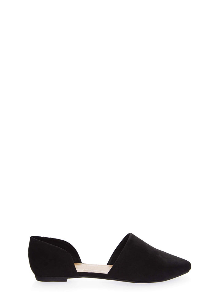 By Your Side Faux Suede D'Orsay Flats BLACK