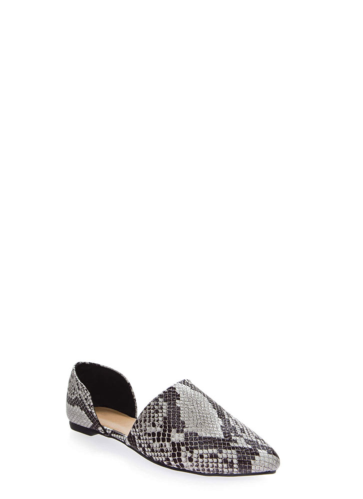 By Your Side Faux Snake D'Orsay Flats BLACK