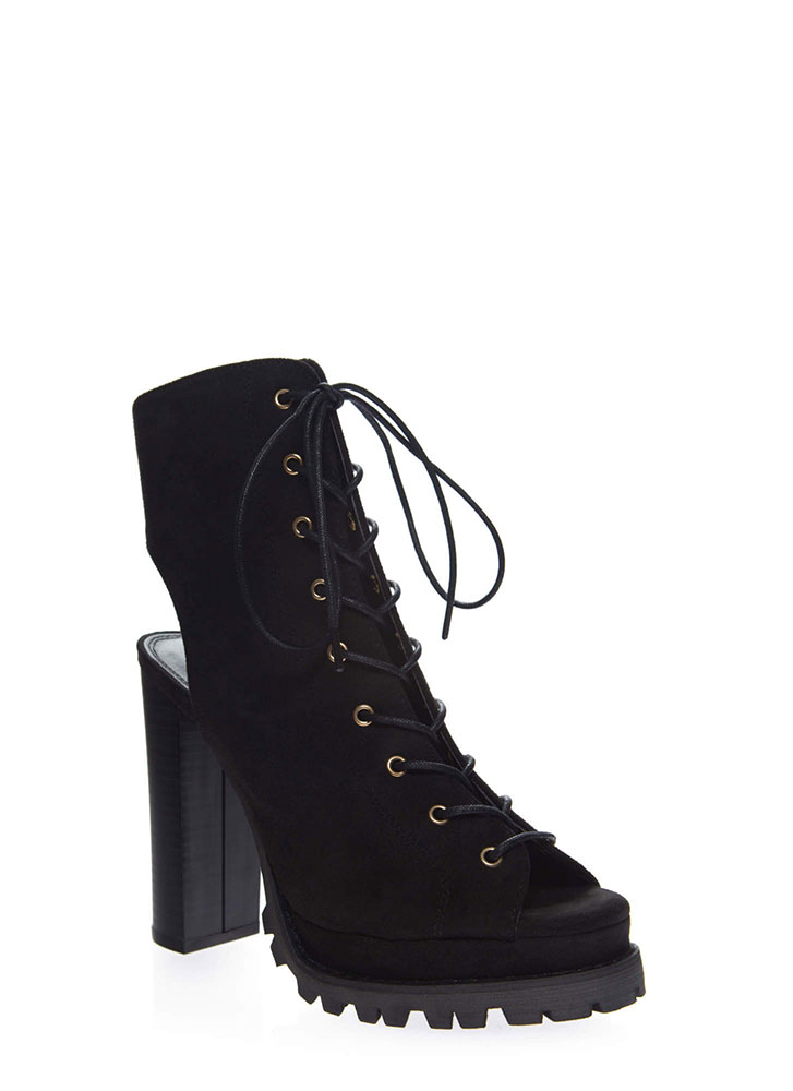 Lug Love Chunky Cut-Out Peep-Toe Booties BLACK