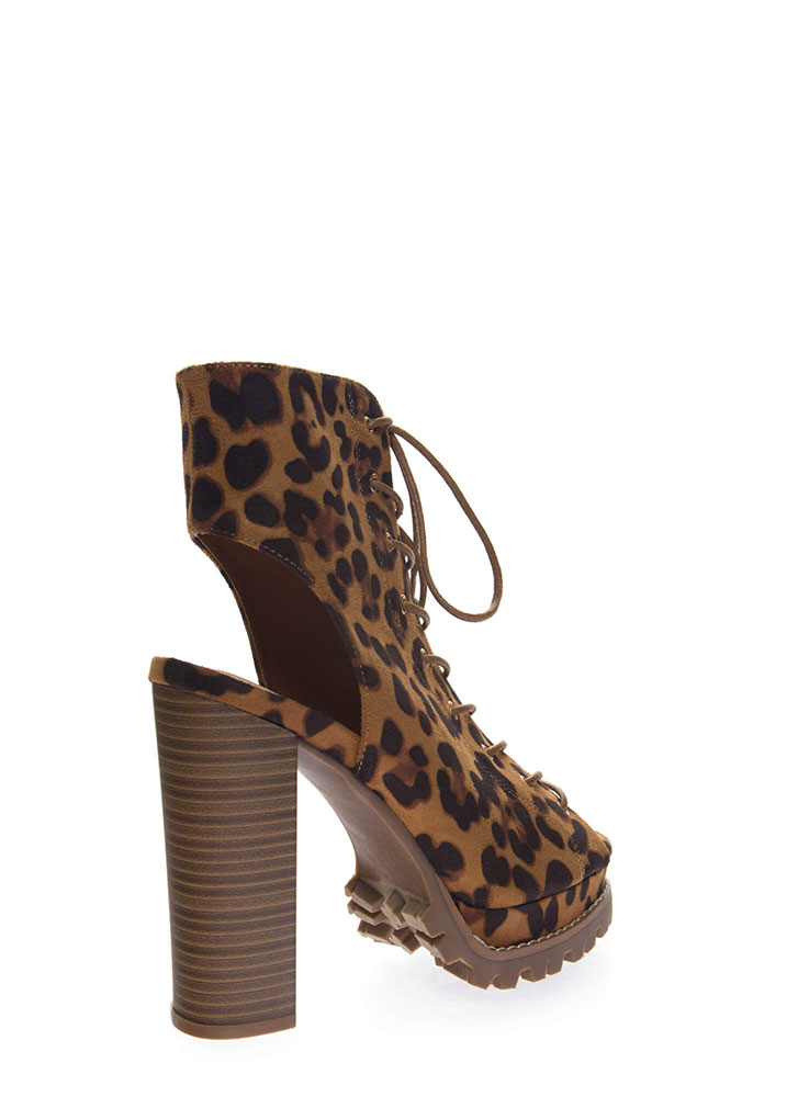 Lug Love Chunky Cut-Out Peep-Toe Booties LEOPARD