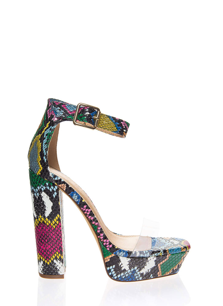 See Me Now Clear Strap Snake Platforms MULTI