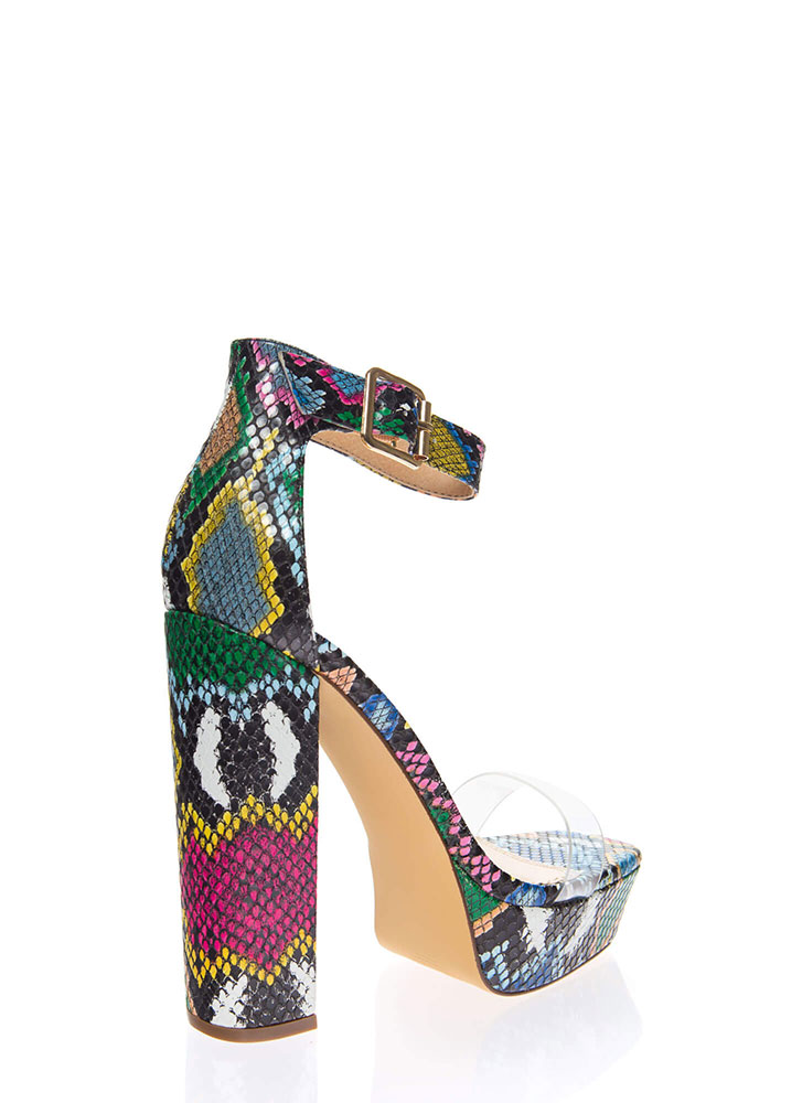 See Me Now Clear Strap Snake Platforms MULTI (You Saved $22)