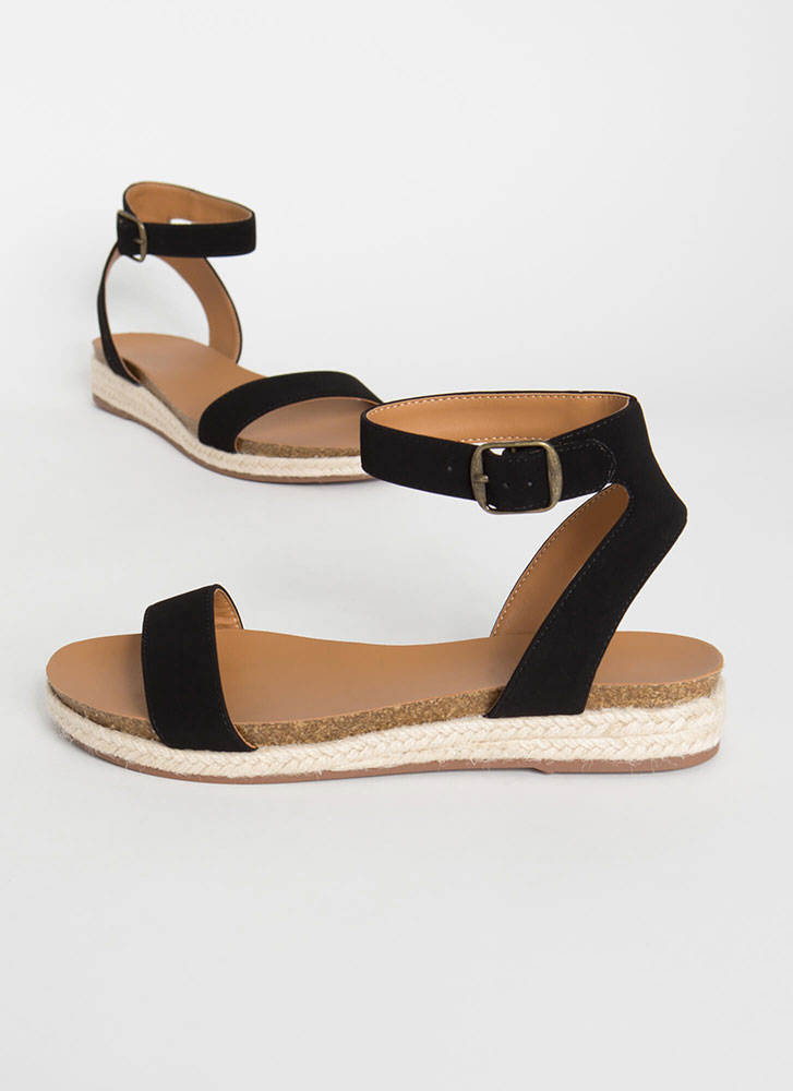 Sunny Day Braided Ankle Strap Sandals BLACK