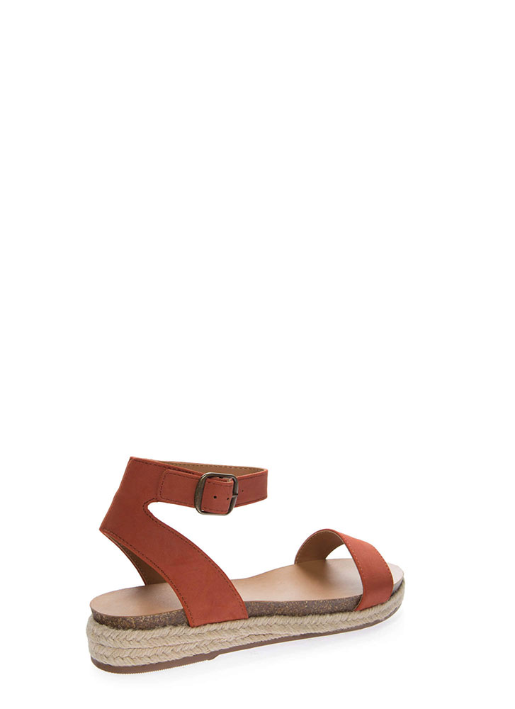 Sunny Day Braided Ankle Strap Sandals BRIGHTORNGE