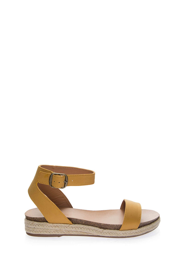 Sunny Day Braided Ankle Strap Sandals MUSTARD