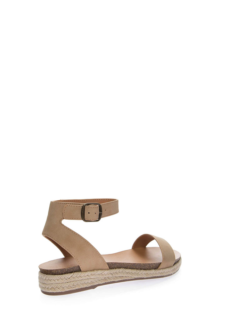 Sunny Day Braided Ankle Strap Sandals NATURAL
