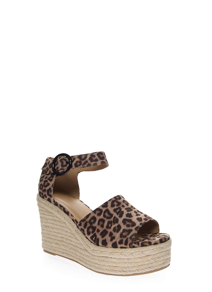 Fun Outing Leopard Platform Wedges OATMEAL