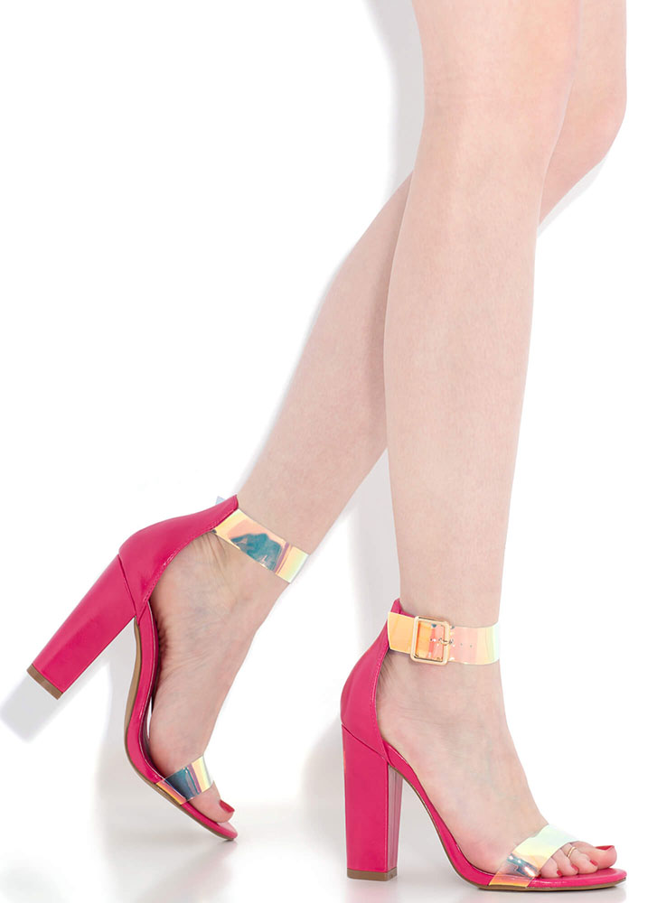 Mesmerize Holographic Strap Chunky Heels BERRY