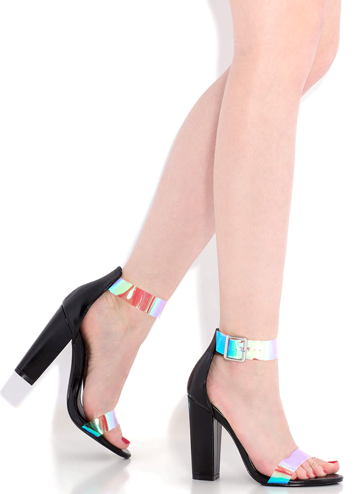 Mesmerize Holographic Strap Chunky Heels BLACK