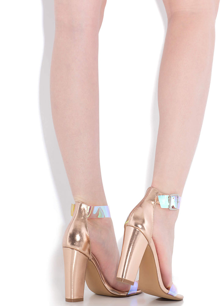 Mesmerize Holographic Strap Chunky Heels ROSEGOLD
