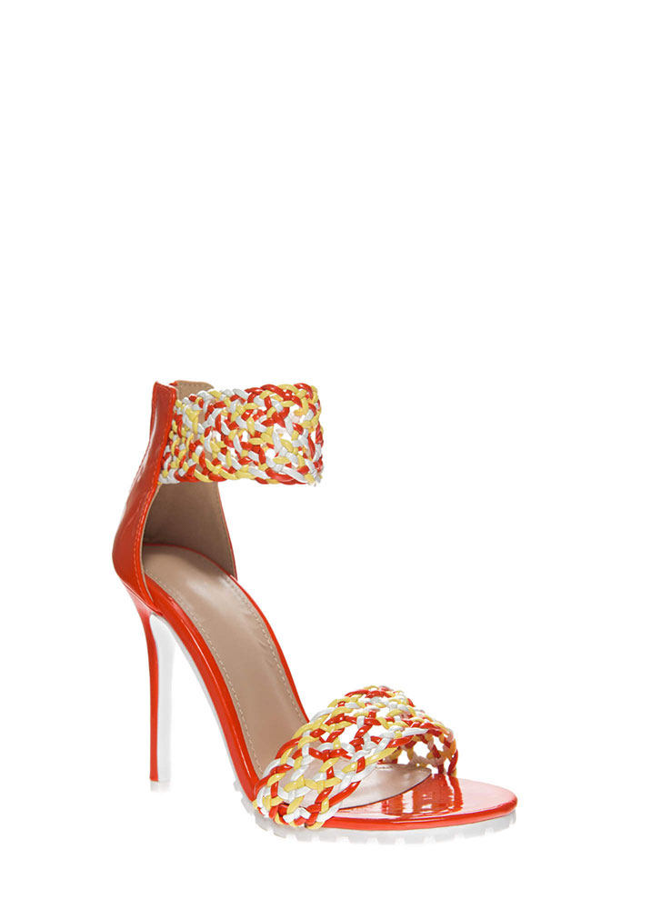 It's A Party Woven Lug Sole Heels ORANGE (You Saved $29)