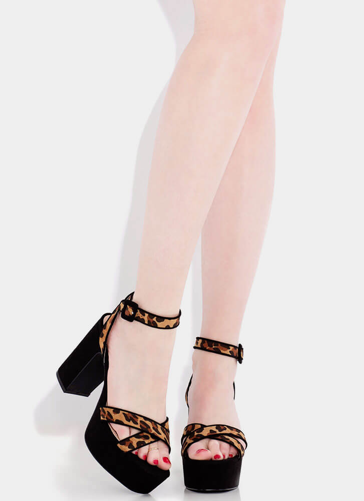 Higher Calling Strappy Chunky Platforms LEOPARD