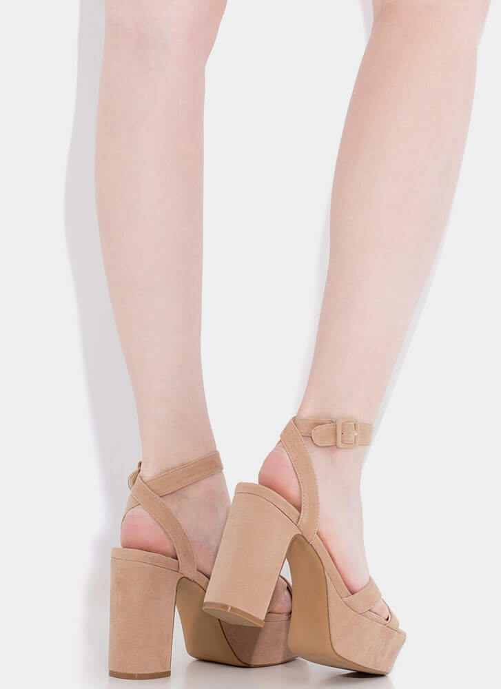 Higher Calling Strappy Chunky Platforms TAUPE