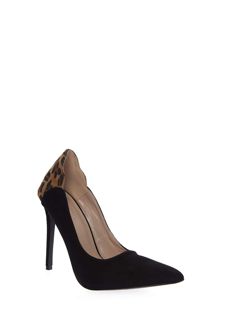 A Little Leopard Pointy Stiletto Pumps BLACK (Final Sale)