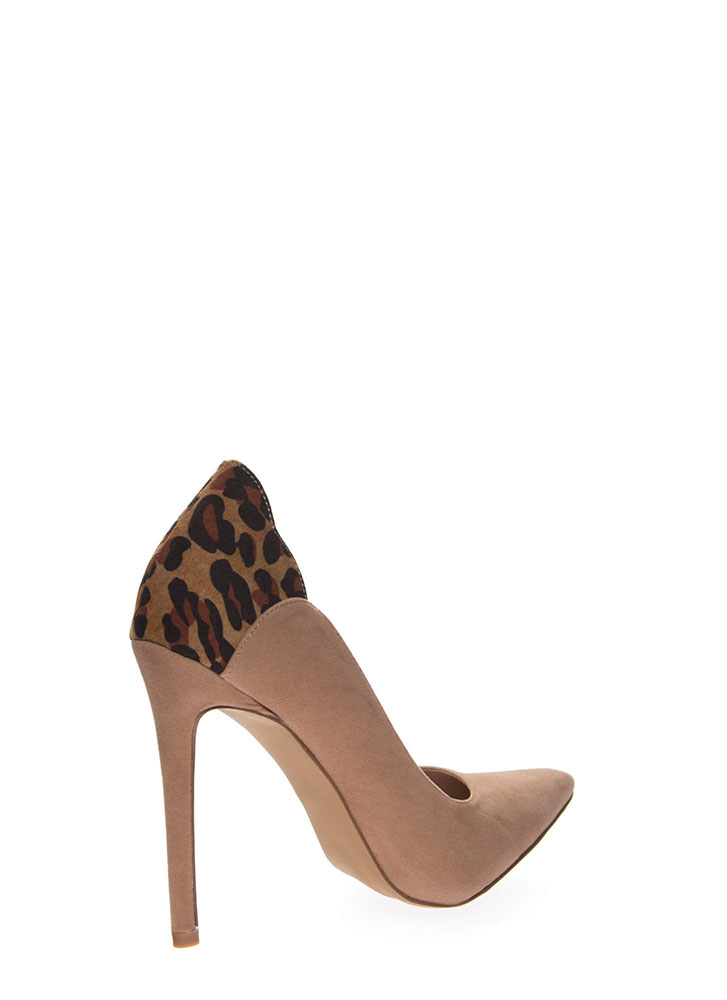 A Little Leopard Pointy Stiletto Pumps TAUPE