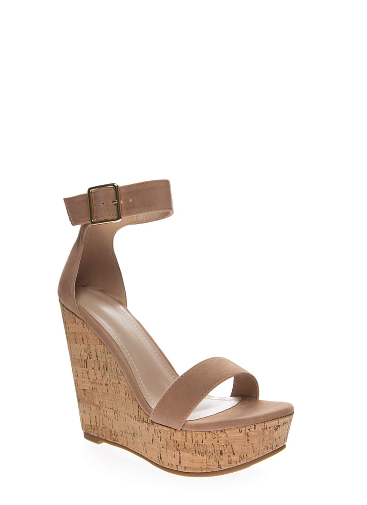 So Chic Ankle Strap Platform Wedges TAUPE (You Saved $28)