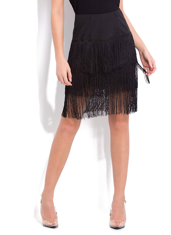 Flapper Party Fringed Midi Skirt BLACK (Final Sale)