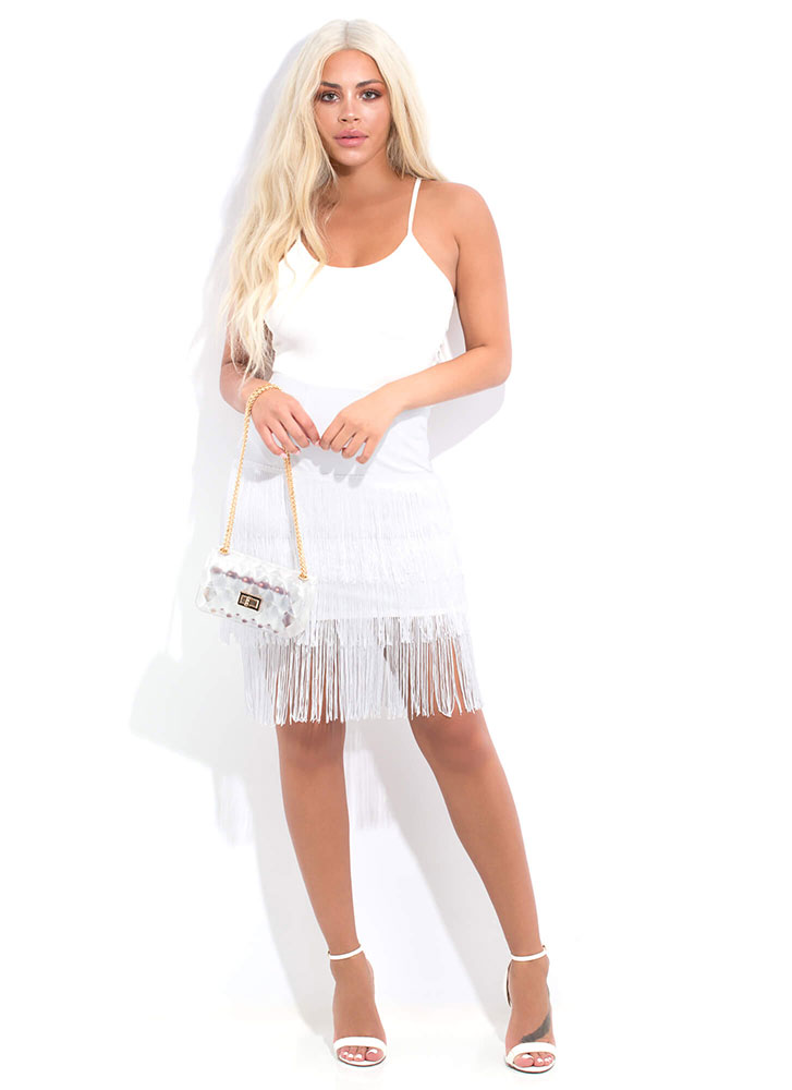 Flapper Party Fringed Midi Skirt WHITE (Final Sale)
