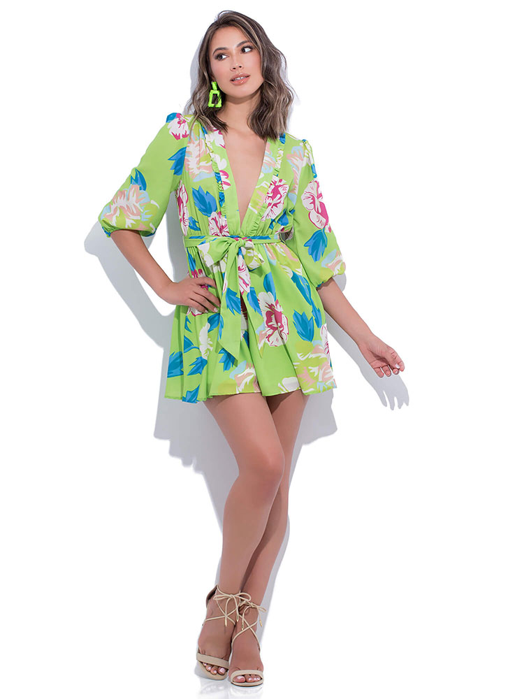 Fun Florals Fit-And-Flare Minidress LIME