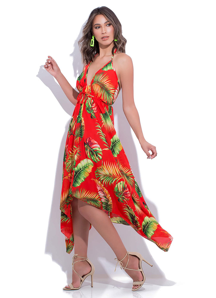 Tropical Palms Tied Halter Maxi Dress RED
