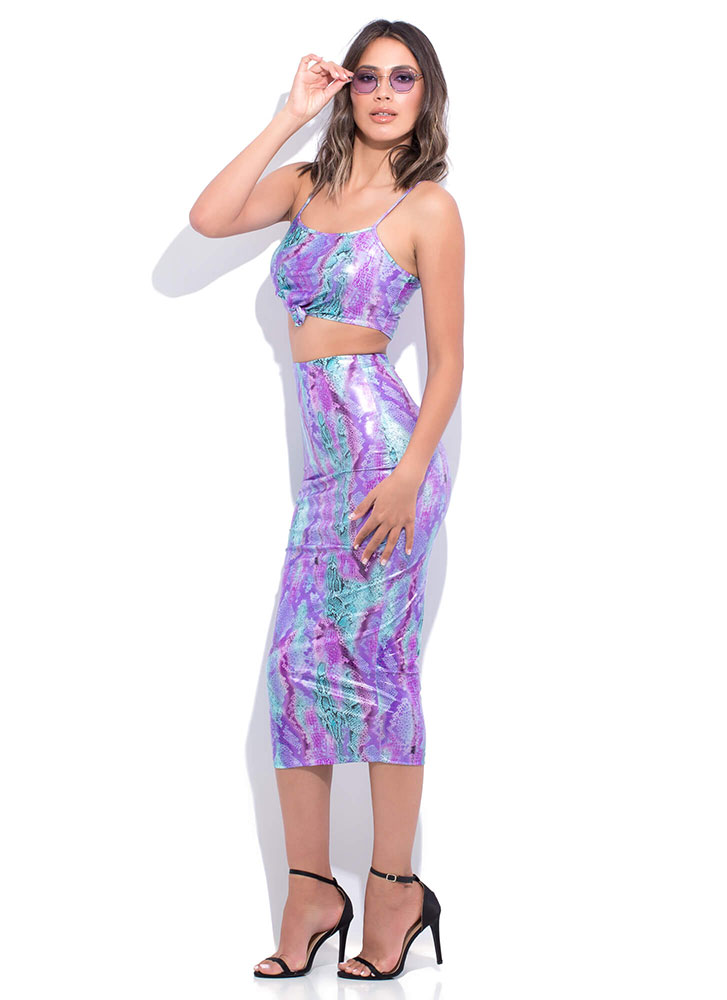 Snake Skin Knotted Top And Skirt Set PURPLE