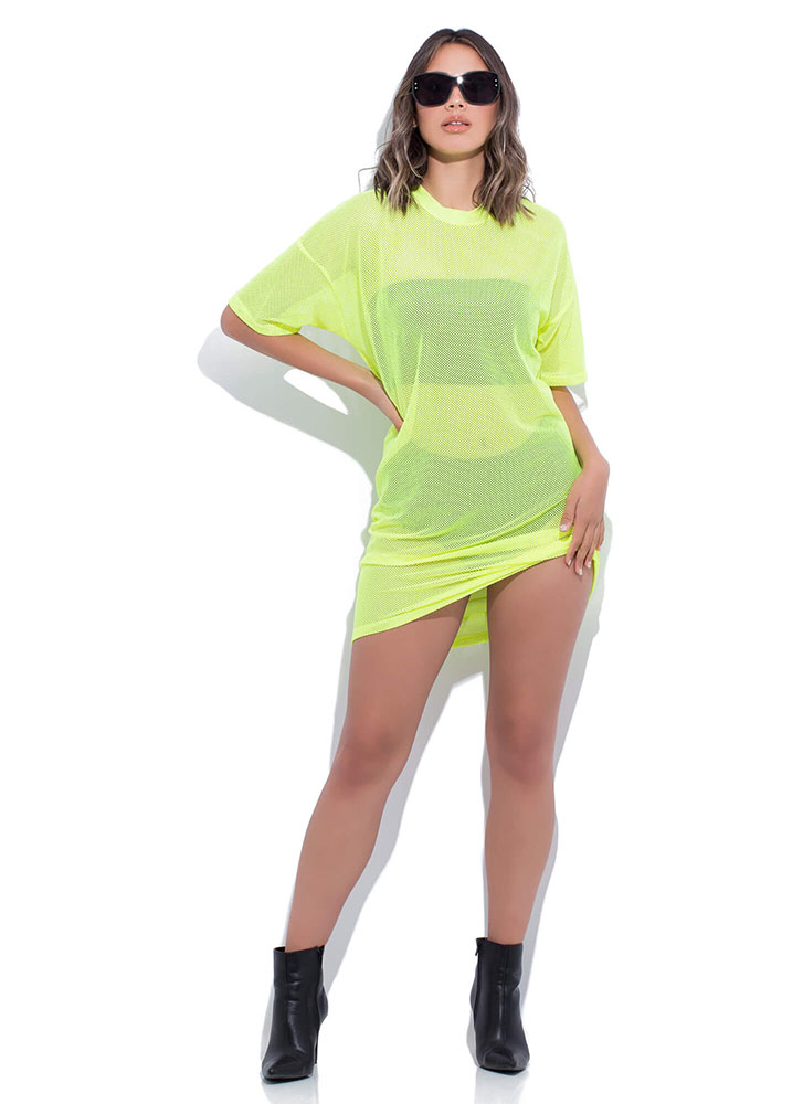 Holes In One Sports Mesh T-Shirt Dress NEONYELLOW