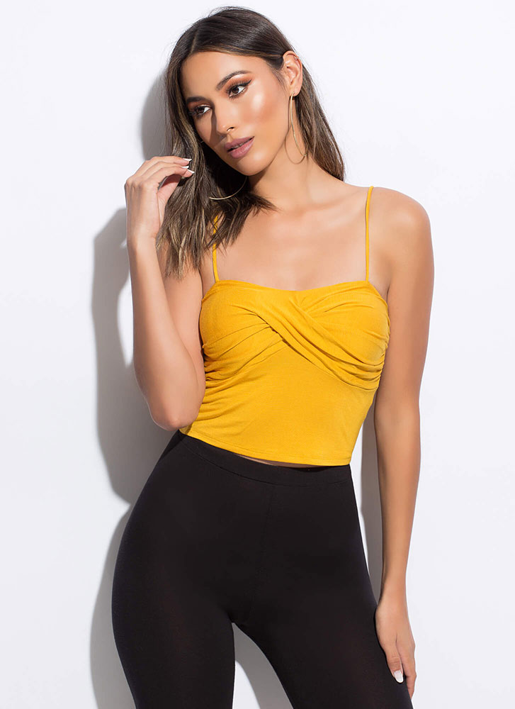 Twist Of Fate Cropped Tank Top MUSTARD