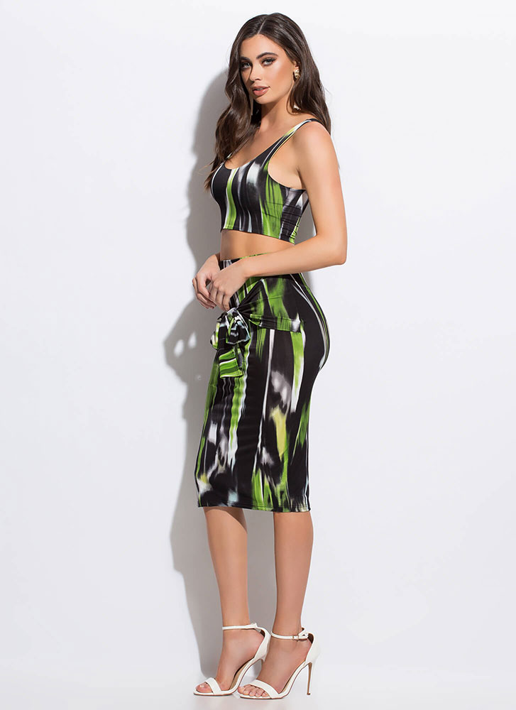 Mean Streak Painted Tied 2-Piece Dress GREEN